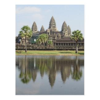 angkor temple reflection postcard