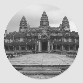 Angkor Wat B&W Classic Round Sticker