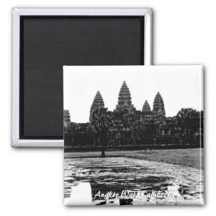 Angkor Wat Cambodia Black & White Magnet