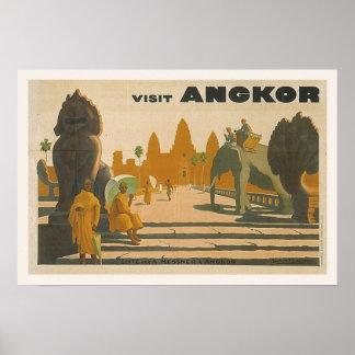 Angkor Wat Cambodia Vintage Travel Poster