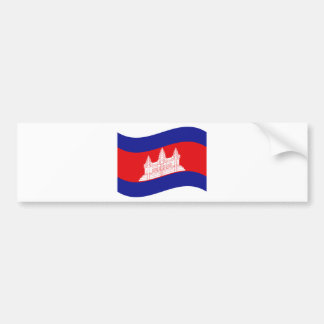 Angkor Wat Cambodian Flag Wave Bumper Sticker