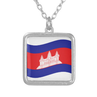 Angkor Wat Cambodian Flag Wave Silver Plated Necklace
