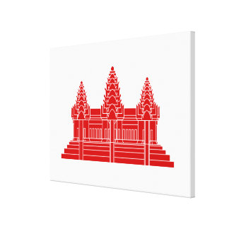 Angkor Wat Cambodian / Khmer Flag Stretched Canvas Print