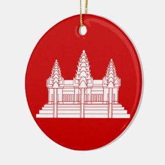 Angkor Wat Cambodian / Khmer Flag Ceramic Ornament