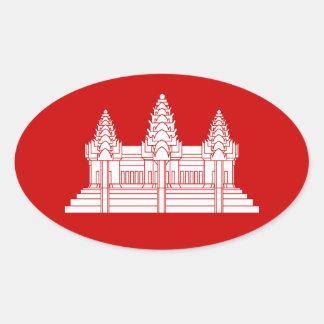 Angkor Wat Cambodian / Khmer Flag Oval Sticker