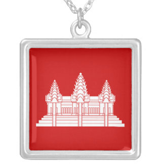 Angkor Wat Cambodian / Khmer Flag Silver Plated Necklace