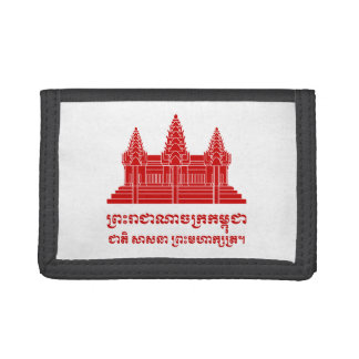 Angkor Wat Cambodian / Khmer Flag with Motto Trifold Wallet
