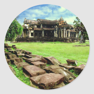 Angkor Wat Crumbled Causeway Classic Round Sticker