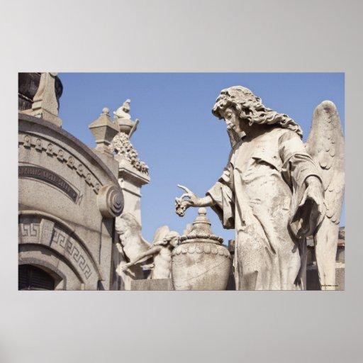 Angle Statue Close Up in La Recoleta Cemetery Poster