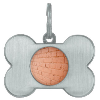 Angle view of a brick wall with a layer of red pai pet name tag