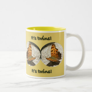 Angle Wing Comma Butterfly It's Twins New Baby Two-Tone Coffee Mug