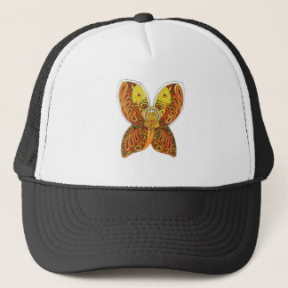 Angle with horns and skull trucker hat