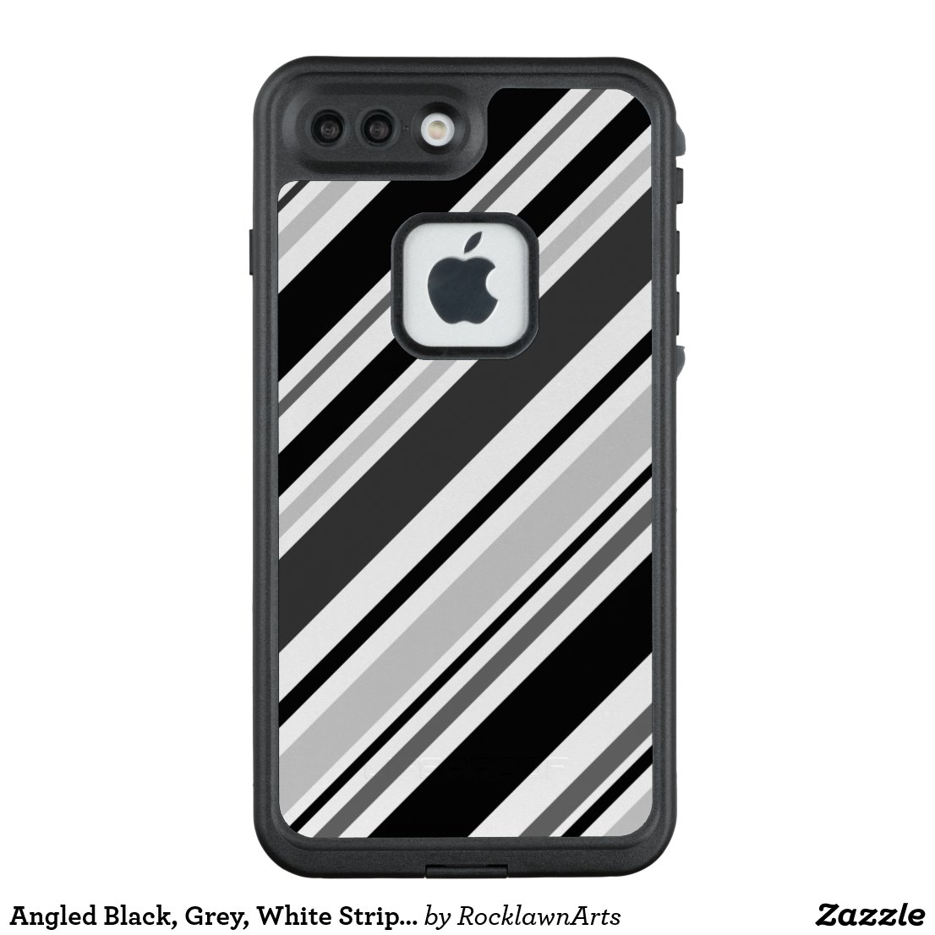 Angled Black, Grey, White Stripes LifeProof® FRĒ® iPhone 7 Plus Case