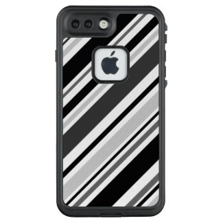 Angled Black, Grey, White Stripes LifeProof® FRĒ® iPhone 7 Plus Case