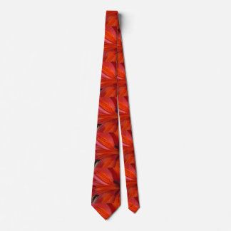 Angled Fiery Orange & Red Lily Neck Tie