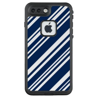Angled Indigo and White Stripes LifeProof® FRĒ® iPhone 7 Plus Case