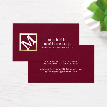 Professional Business Angled Monogram, Editable Burgundy & Text Colors Business Card