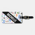 [ Thumbnail: Angled Name; Many Colorful Music Notes and Symbols Luggage Tag ]