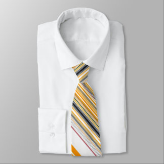 Angled Orange Black White Striped Tie
