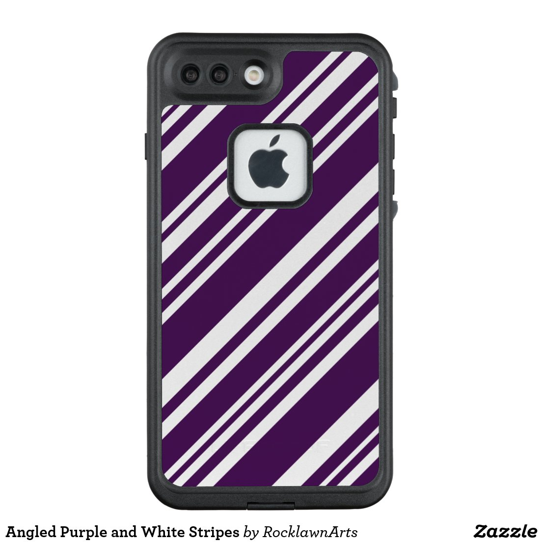 Angled Purple and White Stripes LifeProof® FRĒ® iPhone 7 Plus Case