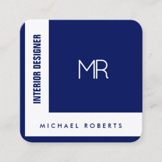 Angled stripe style cover navy blue square business card