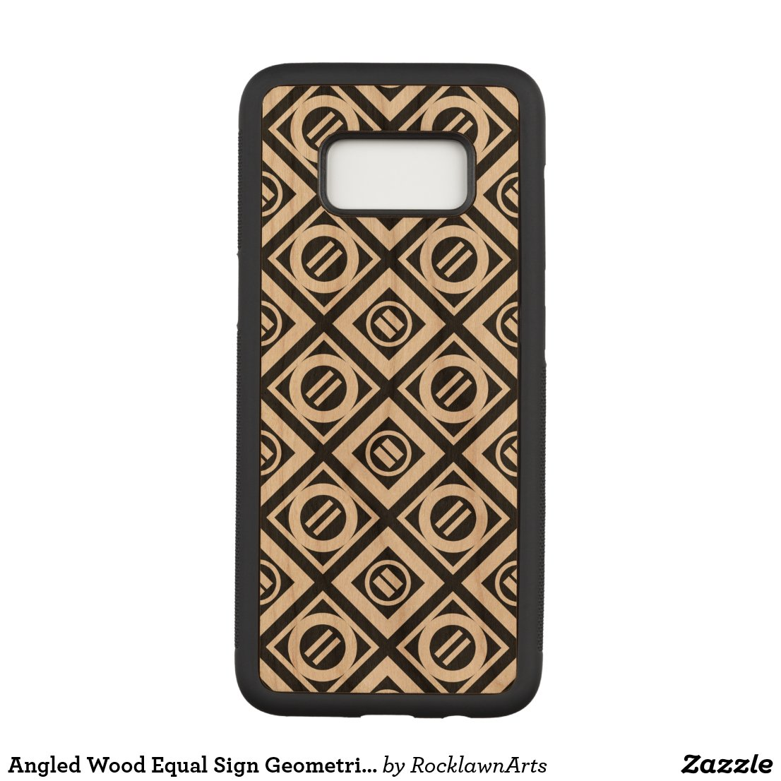Angled Wood Equal Sign Geometric Pattern on Black Carved Samsung Galaxy S8 Case