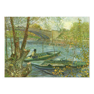 Angler and boat at the Pont de Clichy by van Gogh 5x7 Paper Invitation Card