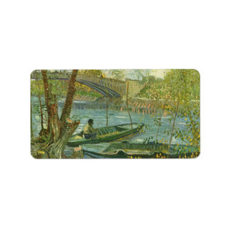 Angler and boat at the Pont de Clichy by van Gogh Address Label