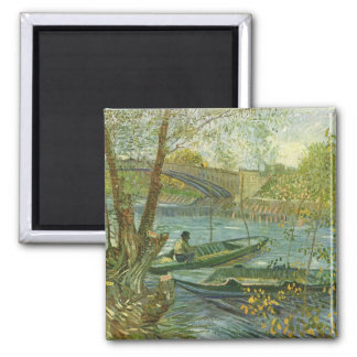 Angler and boat at the Pont de Clichy by van Gogh Magnet