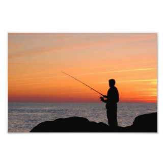 Angler and sunset on shore of the Baltic Sea Photo Art