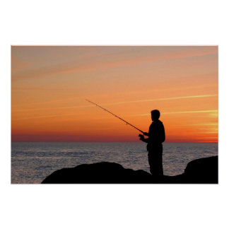 Angler and sunset on shore of the Baltic Sea Print