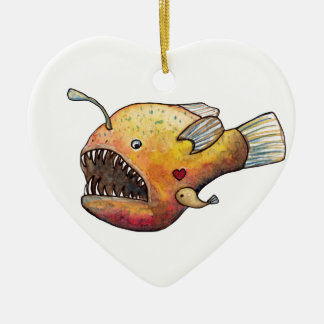 Angler fish love ceramic ornament
