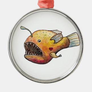Angler fish love metal ornament