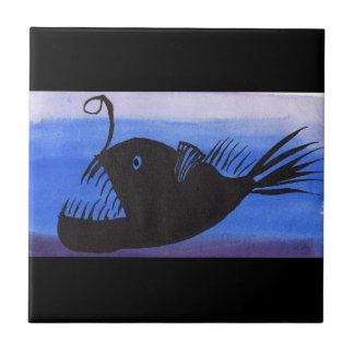 Angler Fish Silhouette Ceramic Tile