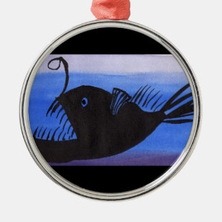 Angler Fish Silhouette Metal Ornament
