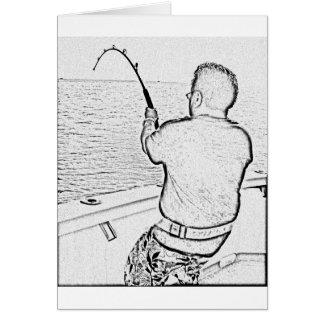 Angler playing a monster fish greeting card