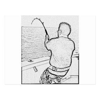 Angler playing a monster fish postcard