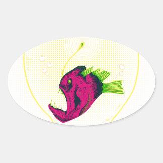 Anglerfish bulb oval stickers
