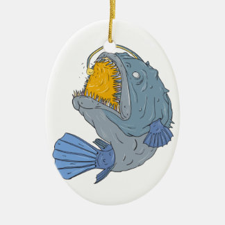 Anglerfish Swooping up Lure Drawing Ceramic Ornament