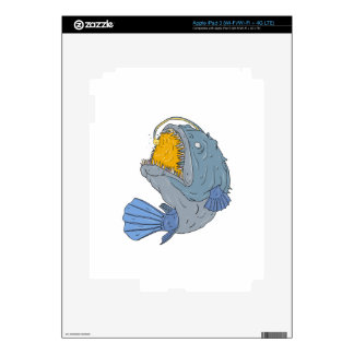 Anglerfish Swooping up Lure Drawing Decals For iPad 3