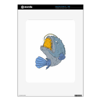 Anglerfish Swooping up Lure Drawing Decals For The iPad
