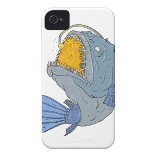 Anglerfish Swooping up Lure Drawing iPhone 4 Cover