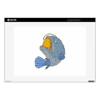 Anglerfish Swooping up Lure Drawing Laptop Decal