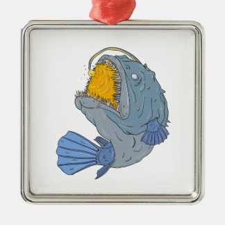 Anglerfish Swooping up Lure Drawing Metal Ornament
