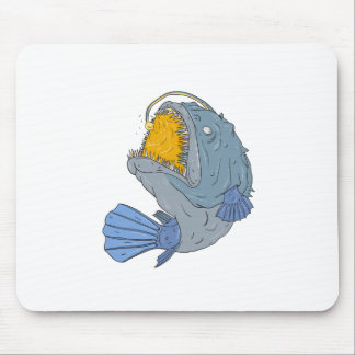 Anglerfish Swooping up Lure Drawing Mouse Pad
