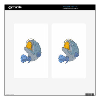 Anglerfish Swooping up Lure Drawing Skin For Kindle Fire