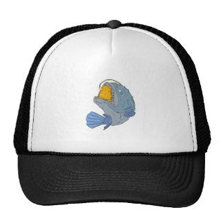 Anglerfish Swooping up Lure Drawing Trucker Hat