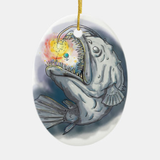 Anglerfish Swooping up Solar System Lure Watercolo Ceramic Ornament