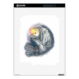 Anglerfish Swooping up Solar System Lure Watercolo iPad 2 Decals