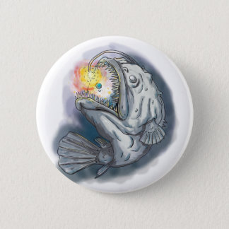 Anglerfish Swooping up Solar System Lure Watercolo Pinback Button
